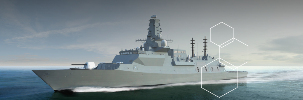 Type 26 HMS Glasgow with STS Defence polemasts